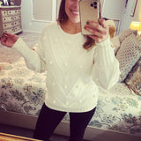 Fitted Cuff Sweater With All Over Poms- IVORY