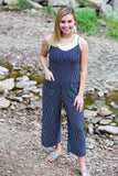 Striped Flowing Jumpsuit- Navy