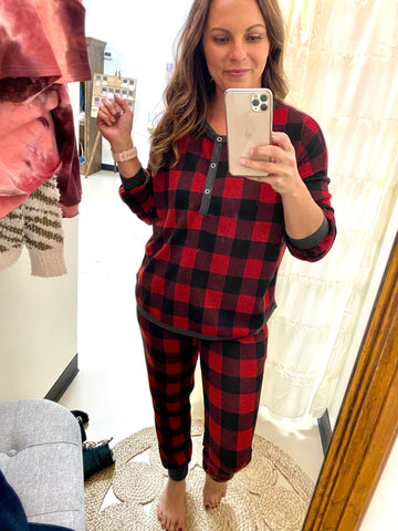 Buffalo Plaid Lounge Pant - Red