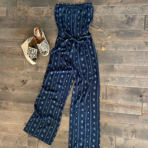 Long Wide Leg Strapless Jumpsuit- Navy
