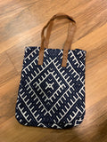 Canvas Tote with Leather Straps-Navy