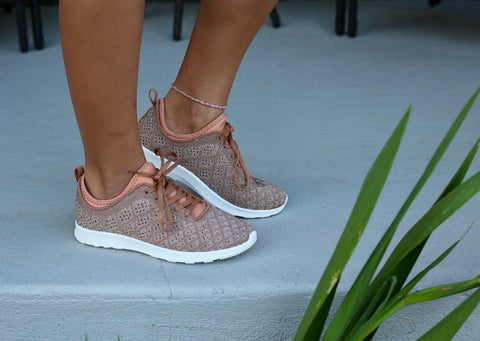 Dessa Mesh Tennis Shoe- Rose Gold