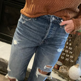 Medium Wash Distressed Mom Jean by Vervet
