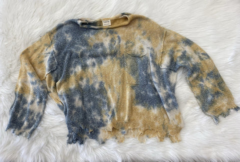 Tie Dye Knit Distressed Sweater- Yellow/Blue
