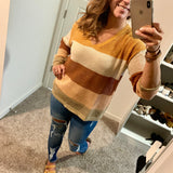Multi-stripe Net Sweater- Mustard