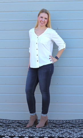 Linen Button Down Top - Ivory