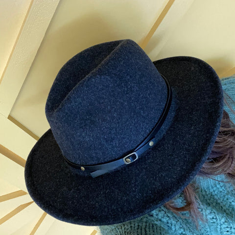 Wide Brim Wool Fedora with Black Belt-Charcoal