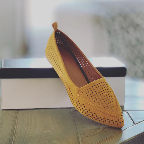 Pointed Toe Perforated Ballet Flat-Mustard