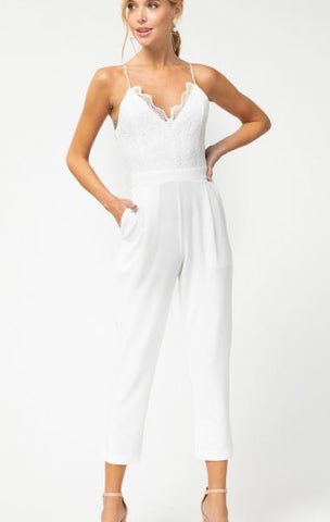 Lace Jumpsuit with Spaghetti Straps and Pockets-White