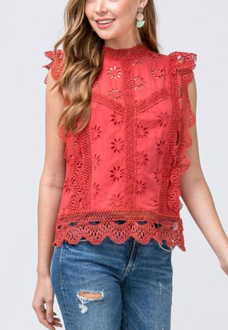 Eyelet Blouse with Ruffle Cap Sleeve - Rust