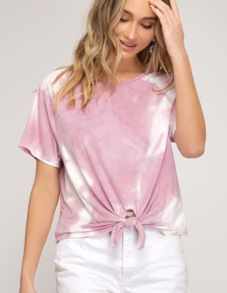 Tie Dye Tee with Tie Front - Pink