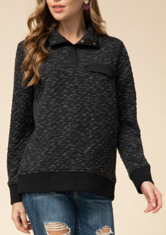 Quilted Pullover with Snap Collar and Pocket - Black