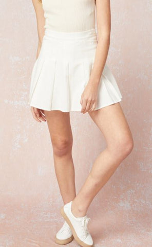 Linen Tennis Skirt - White