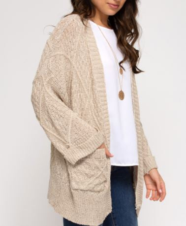 Long Sleeve Open Knit Cardigan with Pockets-Cream