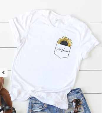 Pocket full of Sunflower Tee - White
