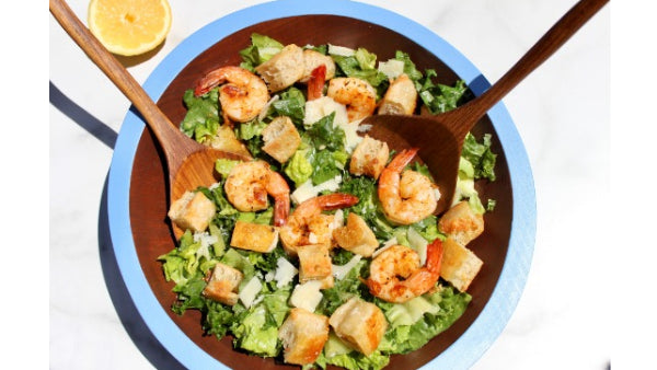 Kale Caesar Salad with Sourdough English Muffin Croutons and Grilled Cajun Shrimp