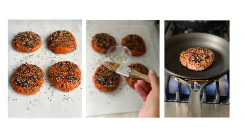 Salmon Burgers Dusted With Sesame Seeds, and Searing on Stovetop