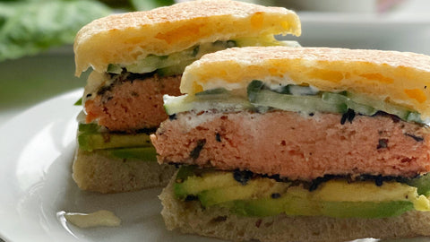 Poke Salmon Burger on English Muffin Cut in Half