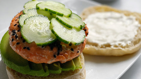 Poke Salmon Burgers with Pickled Cucumbers, Avocado & Ginger Mayo on an 'Original White' Dam Good™ English Muffin