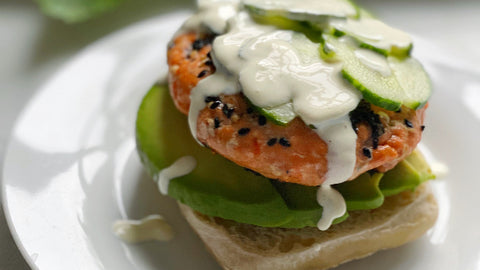 Poke Salmon Burger on English Muffin with Top Off