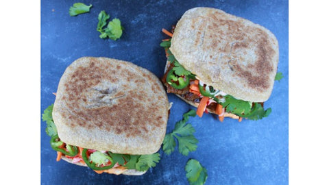 Seitan Bahn Mi Sandwich on a sourdough 'Whole Wheat' Dam Good™ English Muffin
