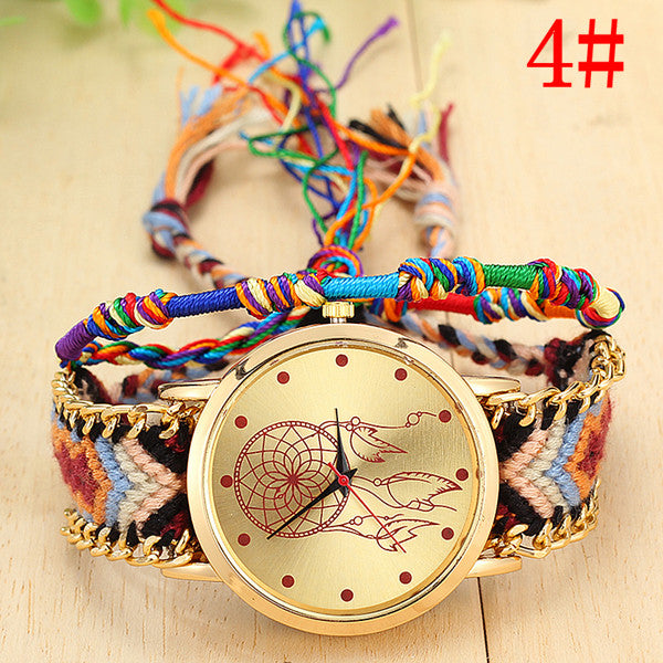 Vansvar Vintage Women Native Handmade Quartz Watch Knitted Dreamcatcher Friendship Watch
