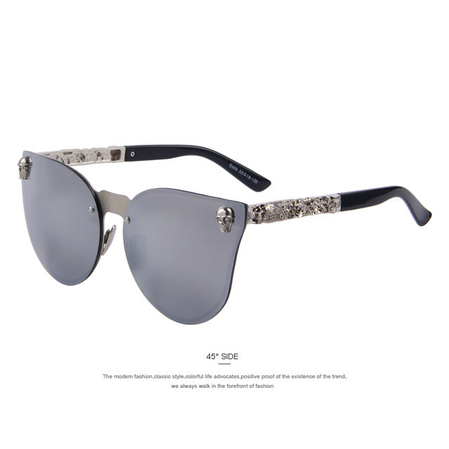 MERRY'S Fashion Men Women Unisex Gothic Eyewear Skull Frame Metal Temple UV400
