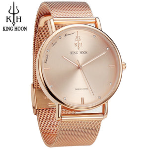 KING HOON Women Watches Ultra Thin Stainless Steel Quartz Wrist watch Bracelet Rhinestones