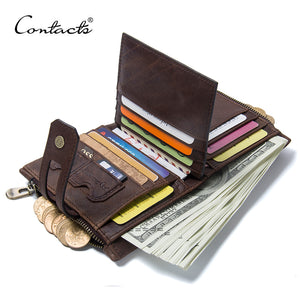 CONTACT'S Genuine Crazy Horse Leather Mens Wallet Cowhide Multi-functional Wallets