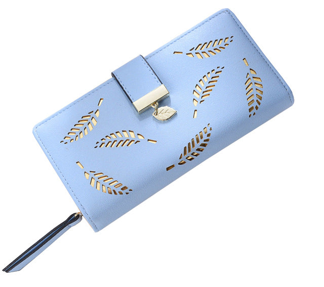 vodiu Women Wallet Leather Card Coin Holder Money Clip Long Phone Clutch Fashion Cash Pocket Purse