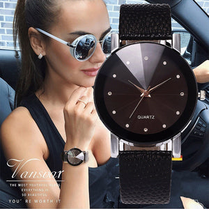 Vansvar Women Luxury Casual Simple Quartz Clock For Women Leather Strap Wrist Watch