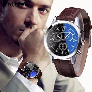 Malloom Mens Blue Ray Glass Watches Luxury Leather Analog Quartz Business