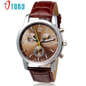OTOKY Wristwatches Male Brown Faux Leather Quartz Watches for Men
