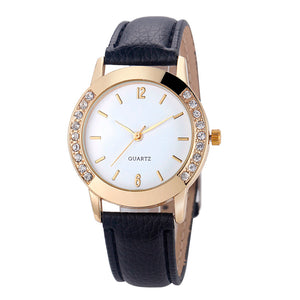 Bowake 2017 Women's Watch Diamond Crystal Analog Quartz Wristwatch Rhinestone Lady Dress Leather