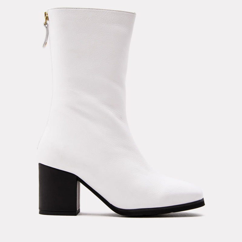 Eri Nappa Leather Mid Shaft Boot (White/Black)