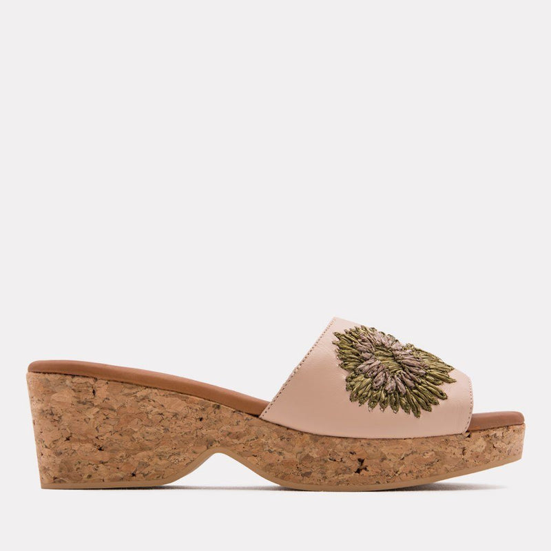 Lili Embroidered Nappa Sandal (Cream)