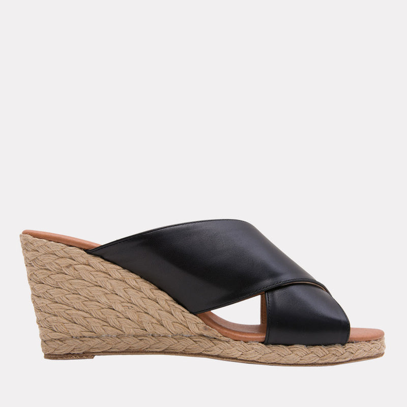 Amber Napa Leather Criss Cross Straps Espadrille Wedge (Black)
