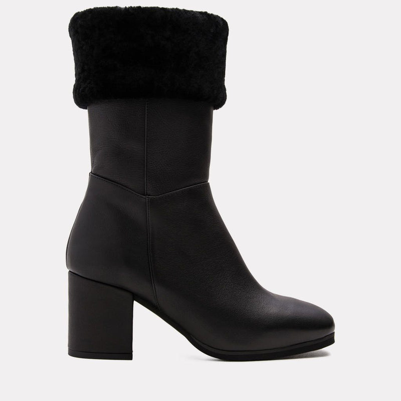 Leah Napa/Shearling Mid Shaft Boot W/ Fur Topline (Black/Black)