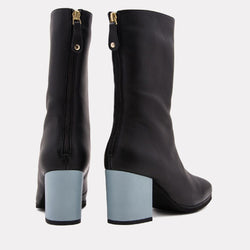 Eri Nappa Leather Mid Shaft Boot (Black/Blue)