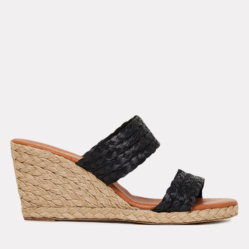 Nolita Natural Raffia Double Banded Espadrille Wedge (Black).