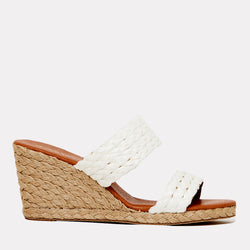 Nolita Natural Rafia Double Banded Espadrille Wedge (White)