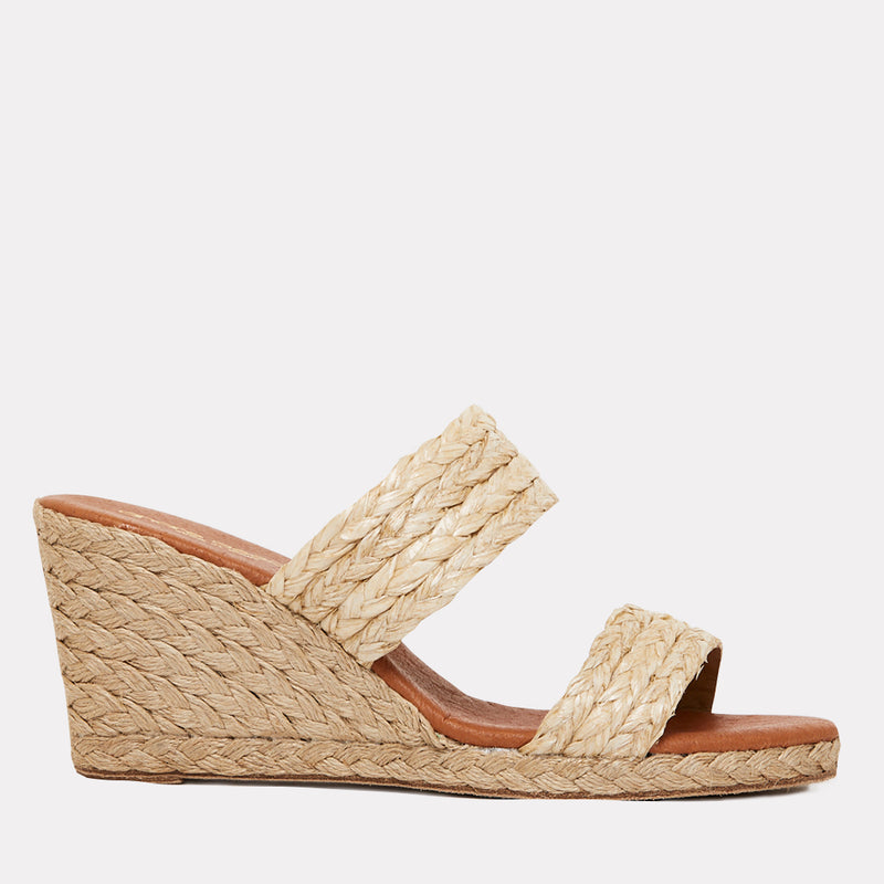 Nolita Natural Rafia Double Banded Espadrille Wedge (Beige)