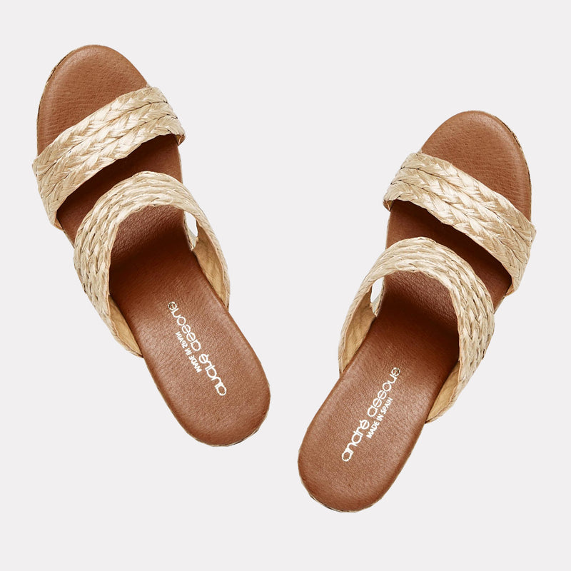 Nolita Natural Raffia Double Banded Espadrille Wedge (Beige)