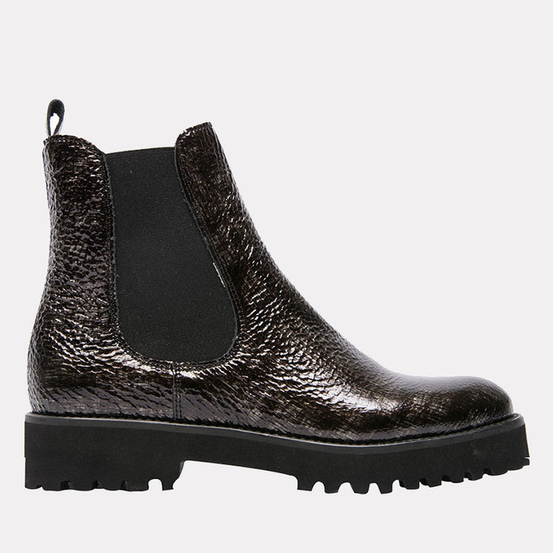 Peggy Patent Crinkle Leather Chelsea Boot (Black Crinkle)