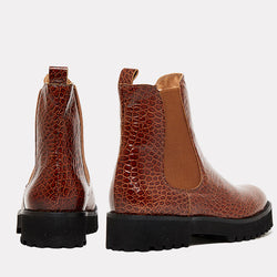 Peggy Embossed Croc Leather Chelsea Boot (Brown/Croc)