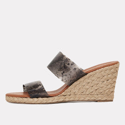 Anfisa Printed Vinyl Espadrille Wedge (Brown Snake).