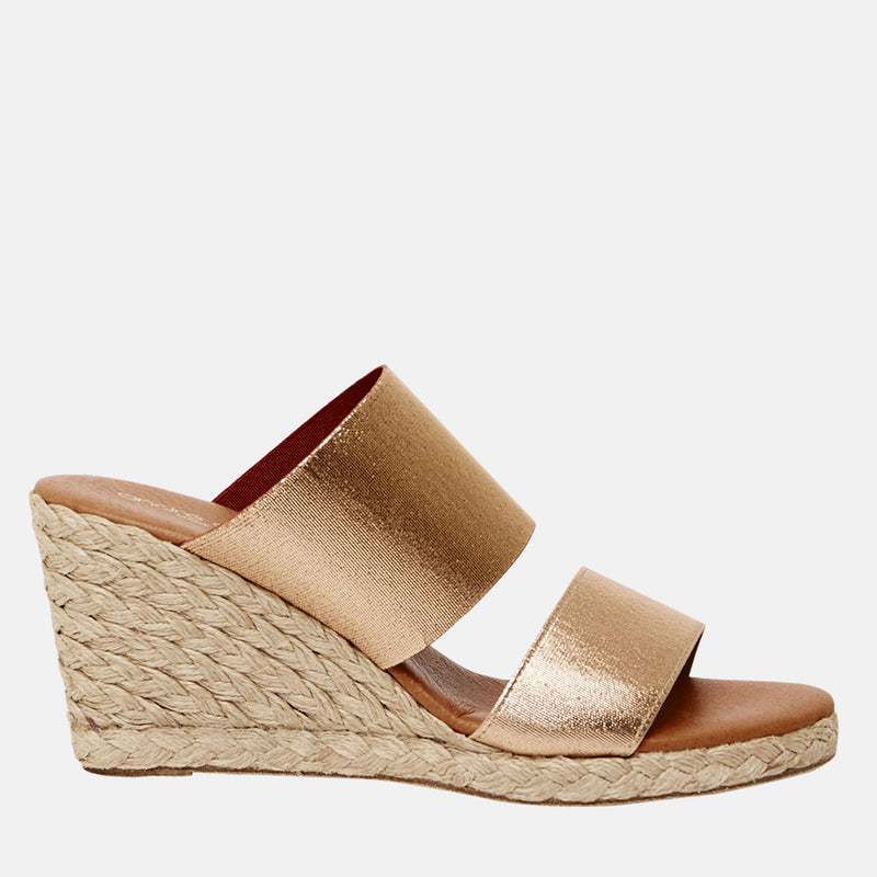 Amalia Metallic Elastic Espadrille Wedge (Rose Gold)