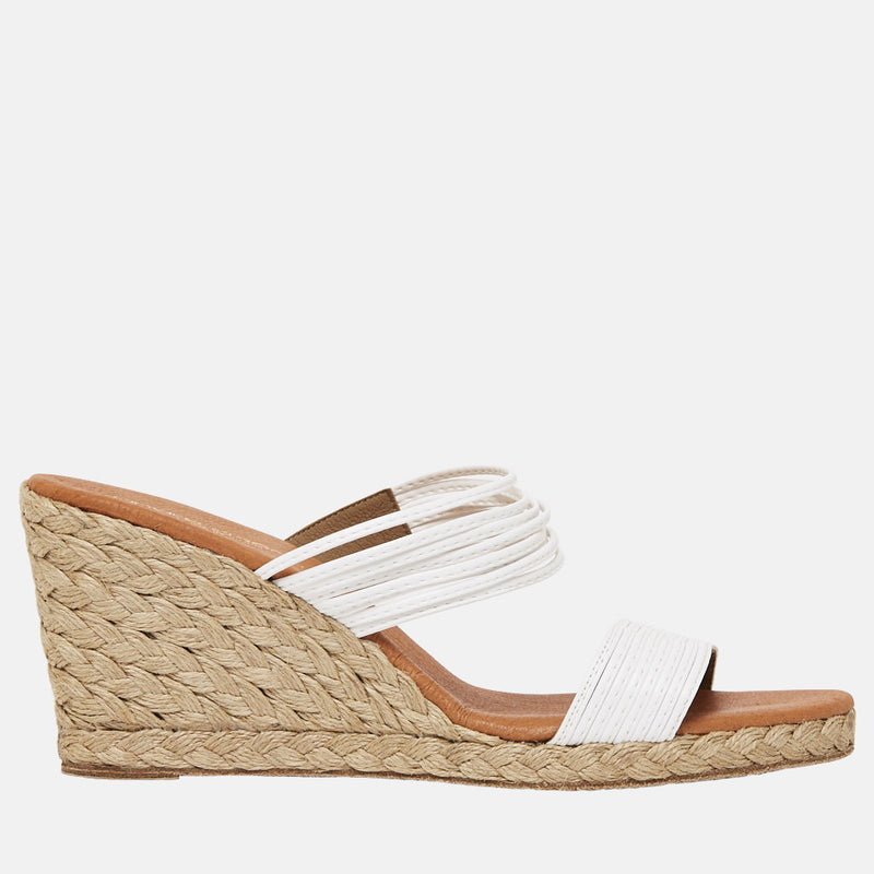 Amy Leather Espadrille Wedge Sandal (White)