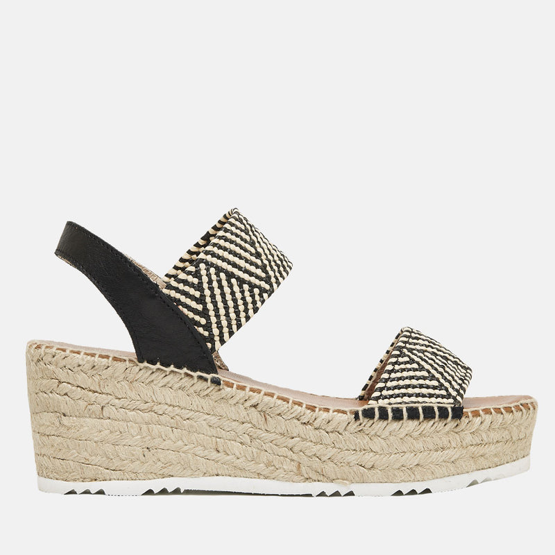 Candy Woven Textile Platform Wedge Espadrille (Black)