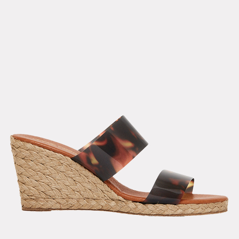 Anfisa Printed Vinyl Espadrille Wedge (Brown Tortoise)